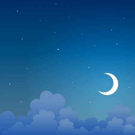 background of a night scene in the sky. Ilustração