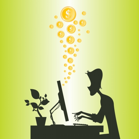 money online: Cartoon silhouette of a man making money online from the internet.