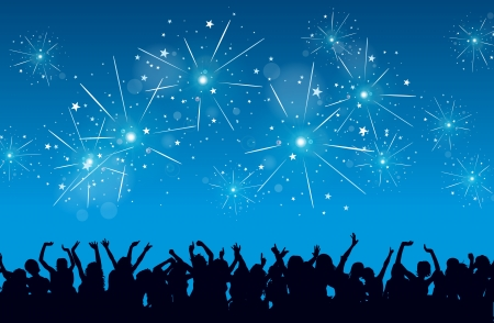 축하: 사람과 불꽃 놀이 헛소리의 실루엣과 새해 이브 축하의 배경.