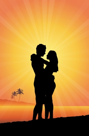 hugs: silhouettes of a romantic couple embracing in a warm beach.