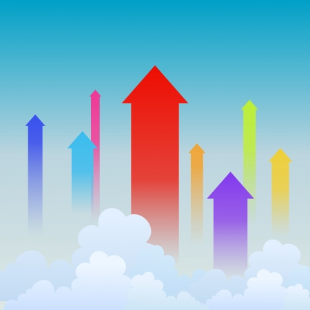 heading: illustration of colorful arrows heading upward, showing upward trends.