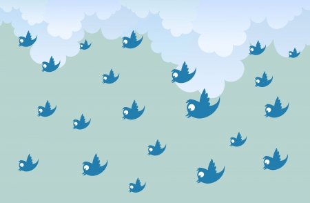 barrage: illustration of numerous tweets raining down from the sky. Illustration