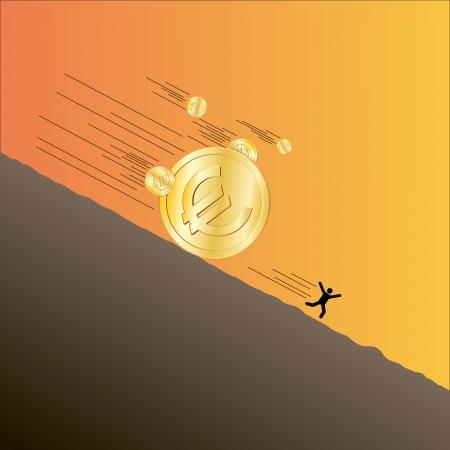 flee: illustration of several Euro coins landsliding downward with a fleeing man. Illustration
