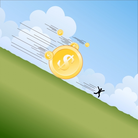 illustration of man silhouette fleeing from landsliding gold coins. Stock Vector - 15958373