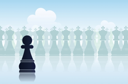 humbled: illustration of a black pawn belittled with its surroundings.