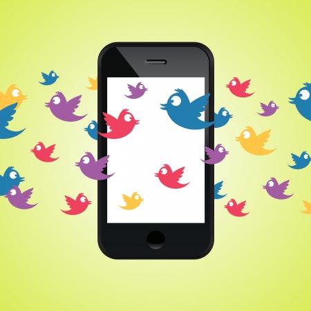 surrounded: illustrazione di uno smartphone circondato da tweet colorati. Vettoriali