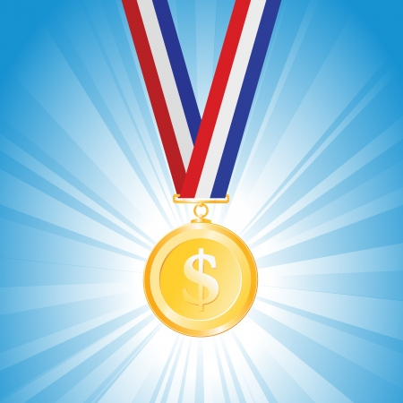 winning race: illustration of a medal with golden dollar coin  Illustration