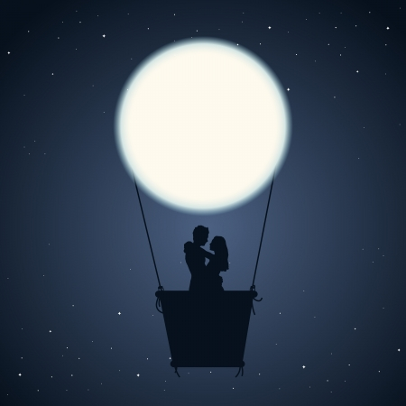 propose: illustration of a couple in an air balloon of moon