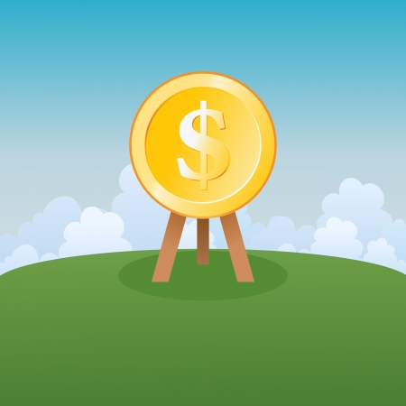 Vector illustration of a golden dollar target mark sitting on the field in a bright day. Vector
