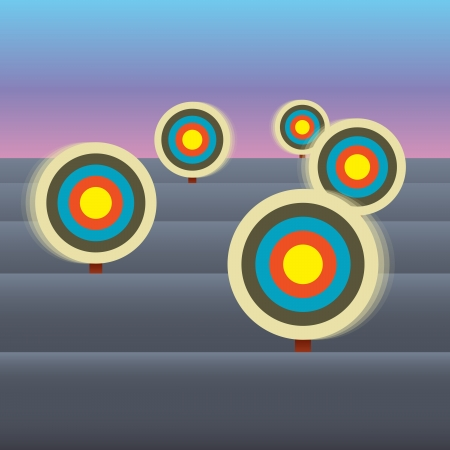 Vector illustration of several target marks moving making them harder to hit. Stock Vector - 16248360