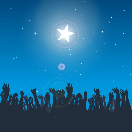 Vector design illustration of several hand silhouettes reaching for the big bright star. Ilustração