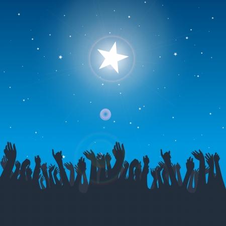 reaching hands: Vector ontwerp illustratie van een aantal hand-silhouetten bereiken voor de grote heldere ster.