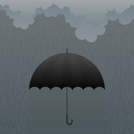 Vector illustration of a black umbrella in heavy rain. Stock Vector - 16248372