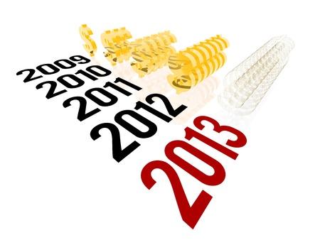 pr�voyance: Rendu 3D de 2013 concept de but, repr�sentant des revenus de 2013 cible en forme de dollars en or. Banque d'images