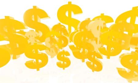 Achtergrond gemaakt van 3D render van een aantal gouden dollars van verschillende afmetingen dicht op elkaar zitten.