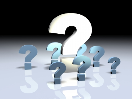 smaller: 3d render illustration of a big question mark surrounded by smaller ones.