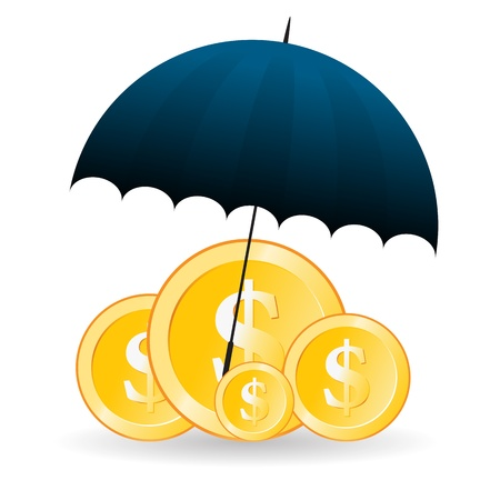 Vector illustration of several gold dollar coins covered with umbrella. Stock Vector - 16356423