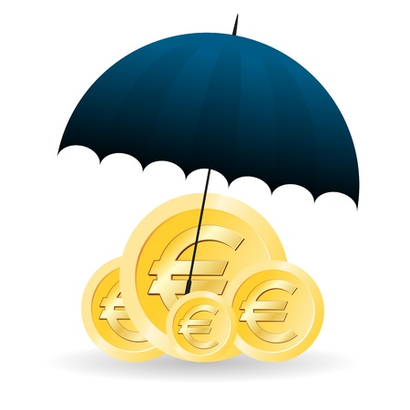 euro coins: Vector illustration of several gold euro coins covered with umbrella.