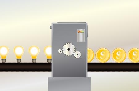 profiting: Illustrazione vettoriale di una catena di montaggio produce monete del dollaro d'oro da un gruppo di lampadine.