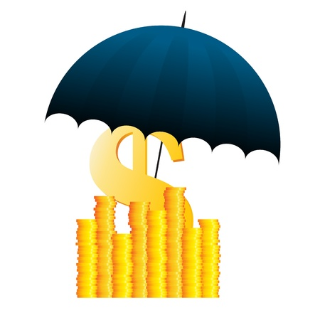 Vector illustration of several gold dollar coins covered with umbrella. Stock Vector - 16356425