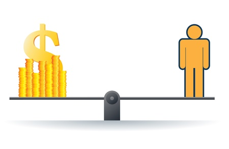 mortgage rates: Vector illustration of a human figure on a scale with heaps of gold dollar coins.