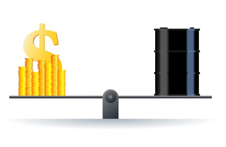 toxic barrels: Vector illustration of a black oil barrel on a scale with heaps of gold dollar coins  Illustration
