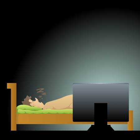 Vector illustration of a man sleeping with his computer still on  Stock Vector - 16356434