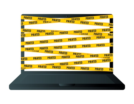 Vector illustration of a laptop wrapped with yellow piracy warning sign  Stock Vector - 16356459