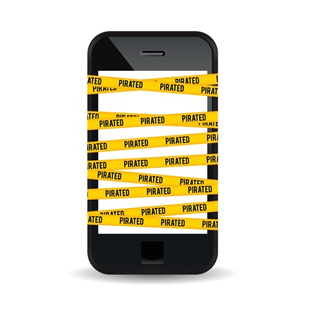 data theft: Vector illustration of a smartphone wrapped with yellow piracy warning sign  Illustration