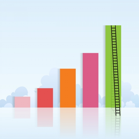 Vector illustration of colorful increasing graphics with a ladder attached to the last bar Stock Vector - 16356439