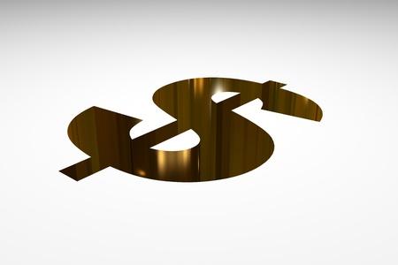 3d render illustration of a gold dollar pit Stock Illustration - 16356468