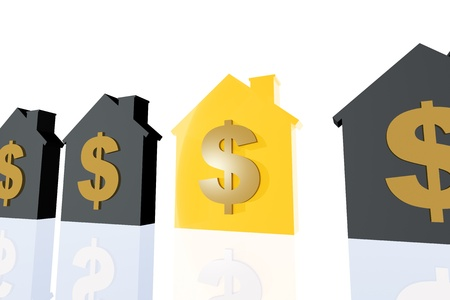 worth: 3d render illustration of several house symbol and a golden one representing profit in property business.