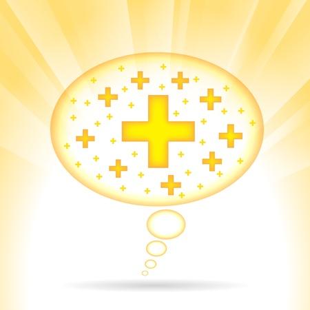 illustratie van een tekstballon met positieve signalen. Vector Illustratie