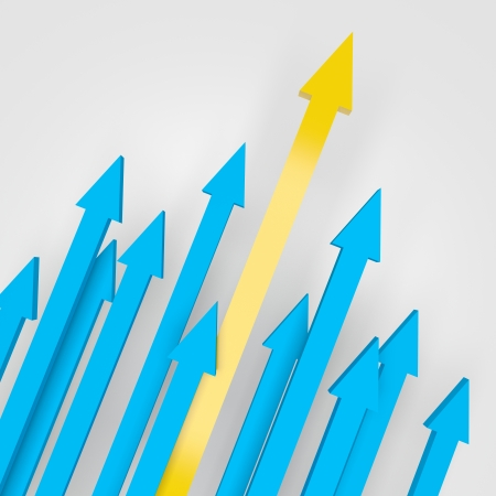 going up: 3d render illustration of arrows going up, with yellow one as the highest. Stock Photo