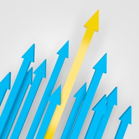 financial leadership: Ilustraci�n 3d de flechas subiendo, con un amarillo como el m�s alto.