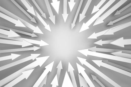 3D render illustratie van pijlen convergeert naar een lege plek. Stockfoto