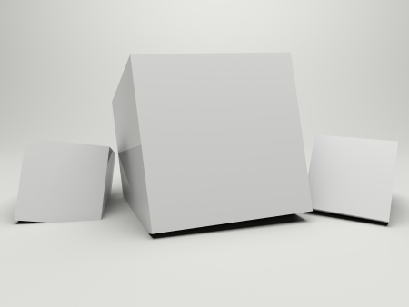 3d render illustration of three white boxes for background or backdrop. Stock Illustration - 16903087