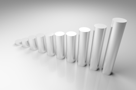 3d render illustration of cylinder-made graph. Stock Illustration - 16929410
