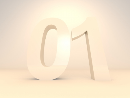 3d render illustration of number blocks of zero and one, binary numbers. illustration