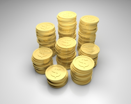 3d render illustration of stacks of gold coins with dollar sign. Stock Illustration - 16945736