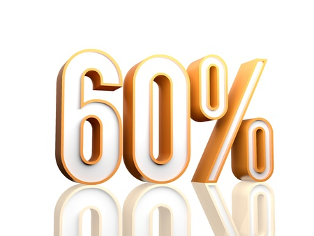 cost reduction: 3d render illustration of percentage number  Stock Photo