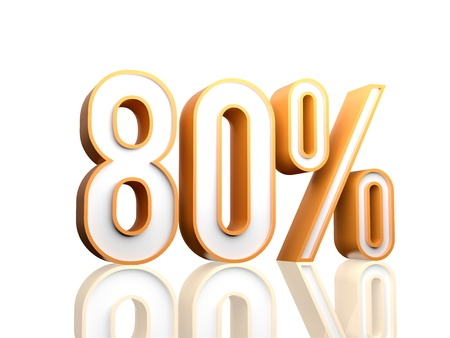 3d render illustration of percentage number  illustration