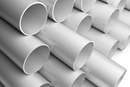 3d render illustration of silver-colored metallic pipes Stock Illustration - 17102810