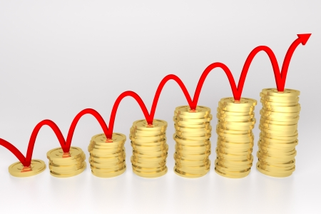 3d render illustration of red line bouncing on stack of gold coins graph  Stock Illustration - 17102807