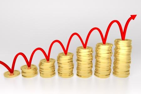 3d render illustration of red line bouncing on stack of gold coins graph Stock Illustration - 17102807