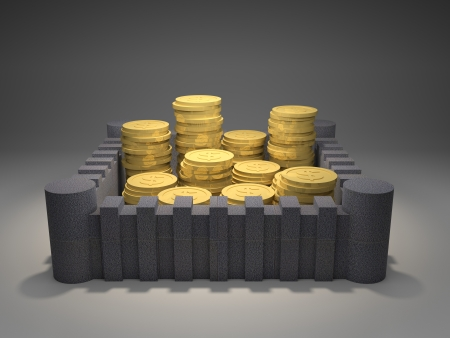 fortified: 3d render illustration of heaps of gold coins protected inside a fortress  Stock Photo