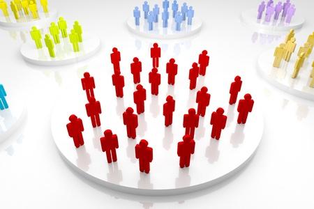 divided: 3d render illustration of several group of human figures