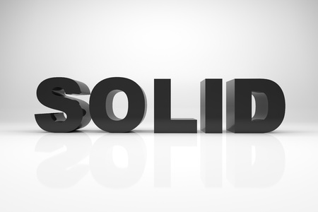 3d word: 3d render illustration of the word SOLID made of solid rock