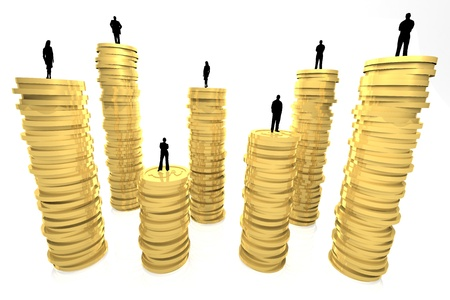 3d render illustration of gold coin pillars with silhouettes of business people as toppings Stock Illustration - 17102801