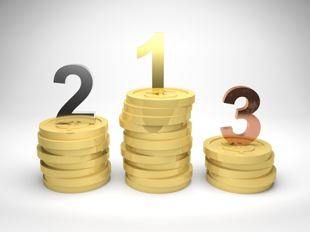 3d render illustration of winners podium made from stacks of gold coins, with first, second, and third position in gold, silver, and bronze materials Stock Illustration - 17102802